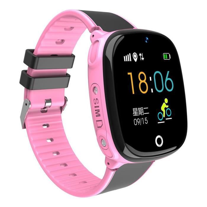 BOYOU Kid Smartwatch Gar?ons Filles Caméra étanche GPS + LBS Localisation SOS Montre Téléphone Portable (Rose)