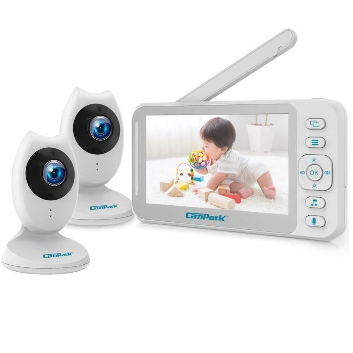 CAMPARK Babyphone 2* Caméra Moniteur bébé , 2.4GHz Transmission sans fil, 4.3- Large LCD Bébé Surveillance