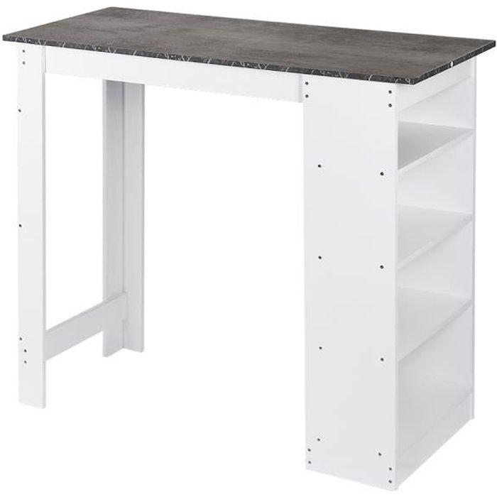 Table Haute de Bar Mange-debout Cuisine avec rangements – Décor bois gris et blanc