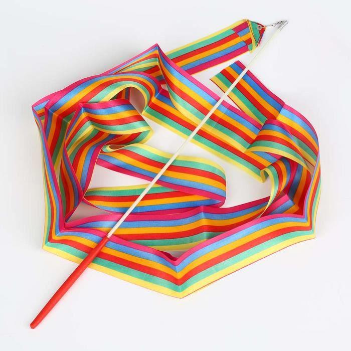 Danse ruban gym gymnastique rythmique tige art ballet twirling bâton 4m Coloré