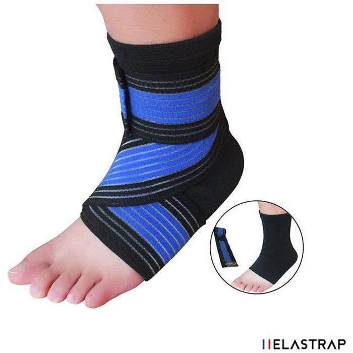 Chevillère + Bande élastique de strapping à scratch velcro - Elastrap - Bandage protège cheville - protection sport,loisirs ...