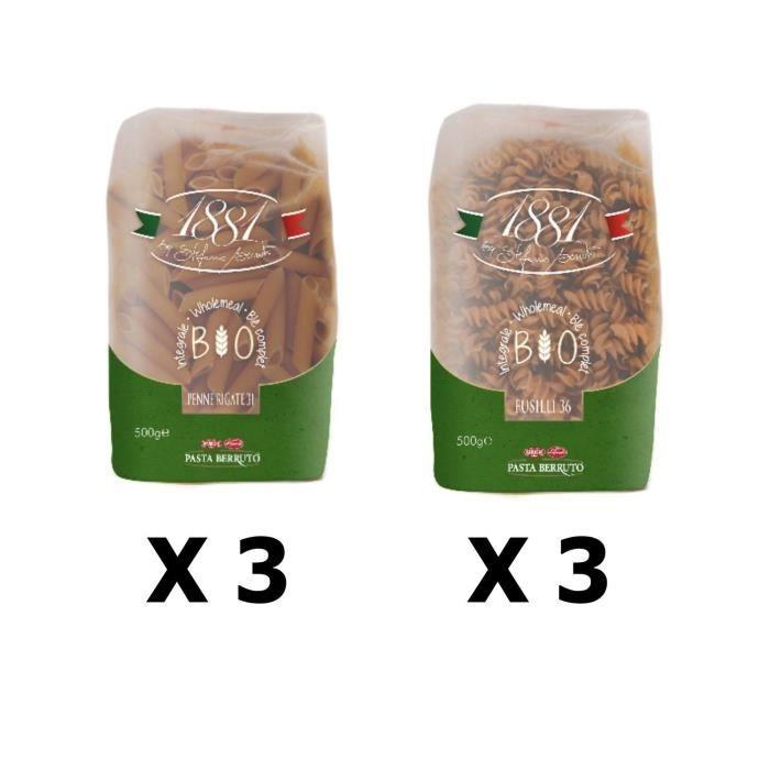 Lot 6x500g - Pâtes Bio italienne blé complet Penne & Fusilli - 1881 Pasta Berruto