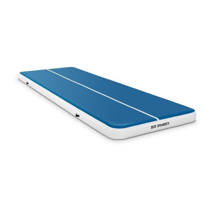 Tapis De Gym Gonflable Matelas De Tumbling Gymrex GR-ATM9 (600 x 200 x 20 cm, 400 kg, 10 PSI - 0,7 bar, PVC, Nylon, ABS, Bleu-Blanc)