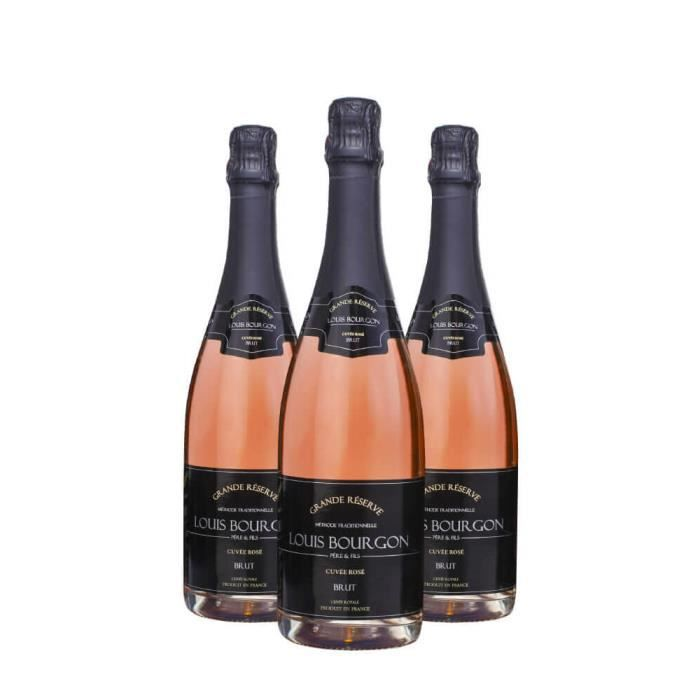 Pack 3 Louis Bourgon Grande Réserve Cuvée Rosé Brut 0,75L