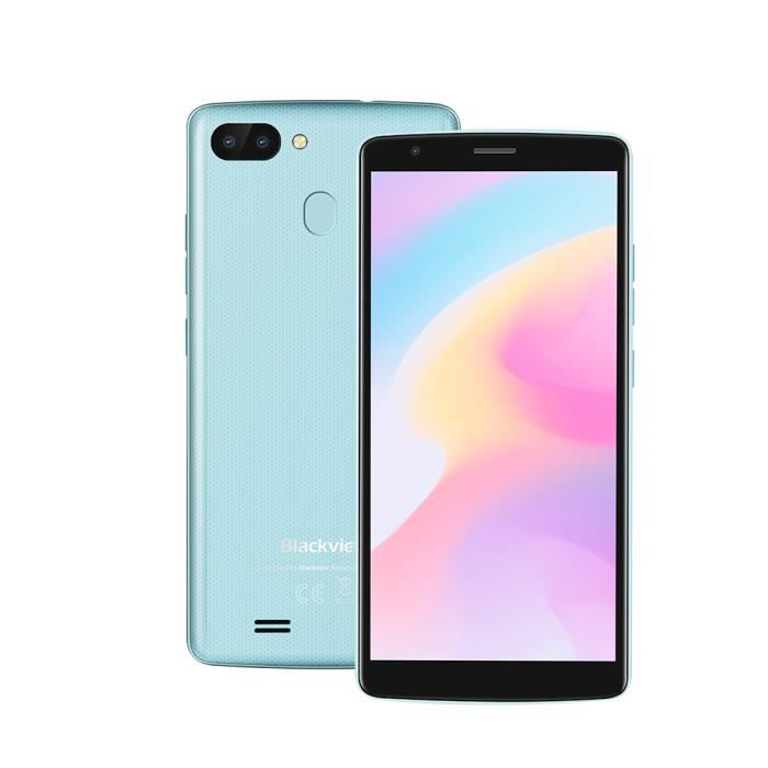 Smartphone Blackview A20 PRO 16Go Pas Cher Android 8.1 5.5pouces HD 18:9 Ecran Dual Camras Debloqué Empreintes Digitales - Bleu