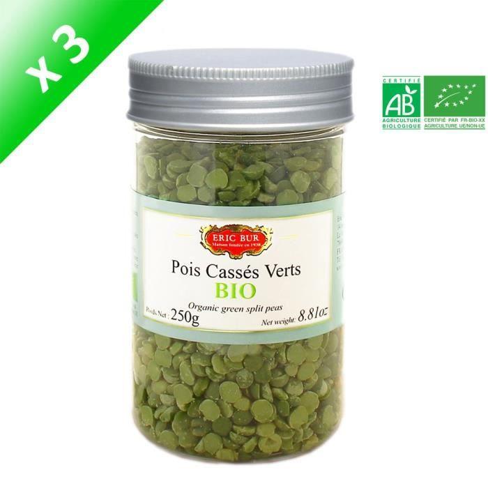 [LOT DE 3] ERIC BUR Pois Verts Cassés Bio - 250 g