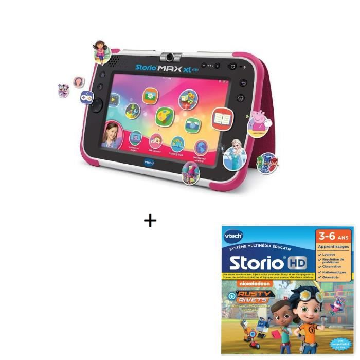 VTECH - Tablette STORIO MAX XL 2.0 rose + Jeu HD Storio RUSTY RIVETS