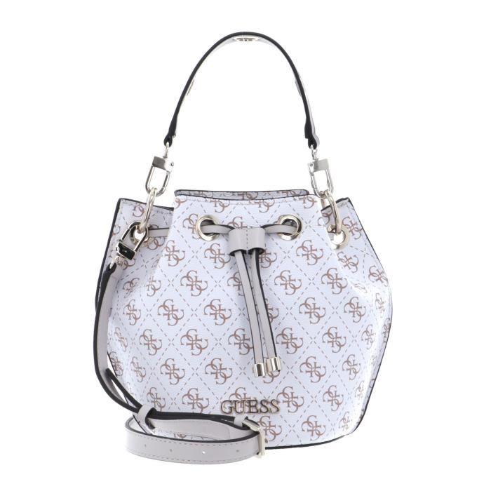 GUESS Washington Mini Drawstring Bucket White Multi [133243] - sac à épaule bandoulière sacoche