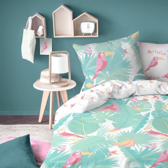 Parure enfant Jungle Matt&Rose Housse de couette + taie d'oreiller - Taille: 140x200 cm - couleur : Vert