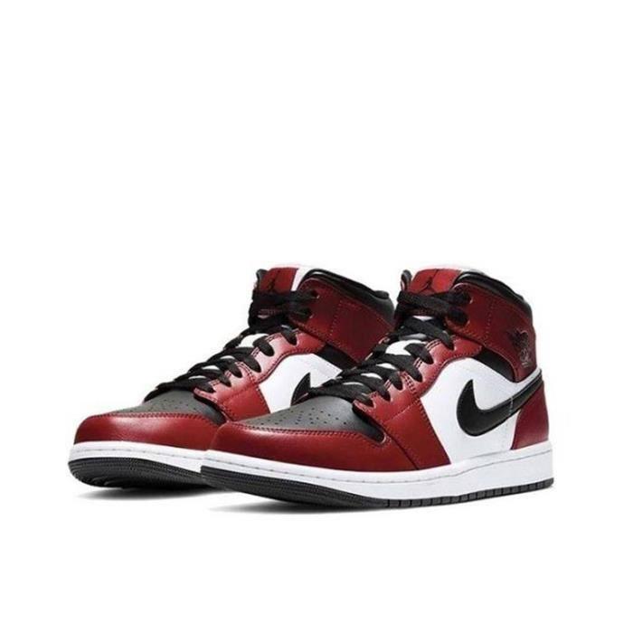 Air Jordan 1 Mid Chicago Black Toe Chaussures de Sport AJ 1 Pas Cher pour Homme Femme Rouge