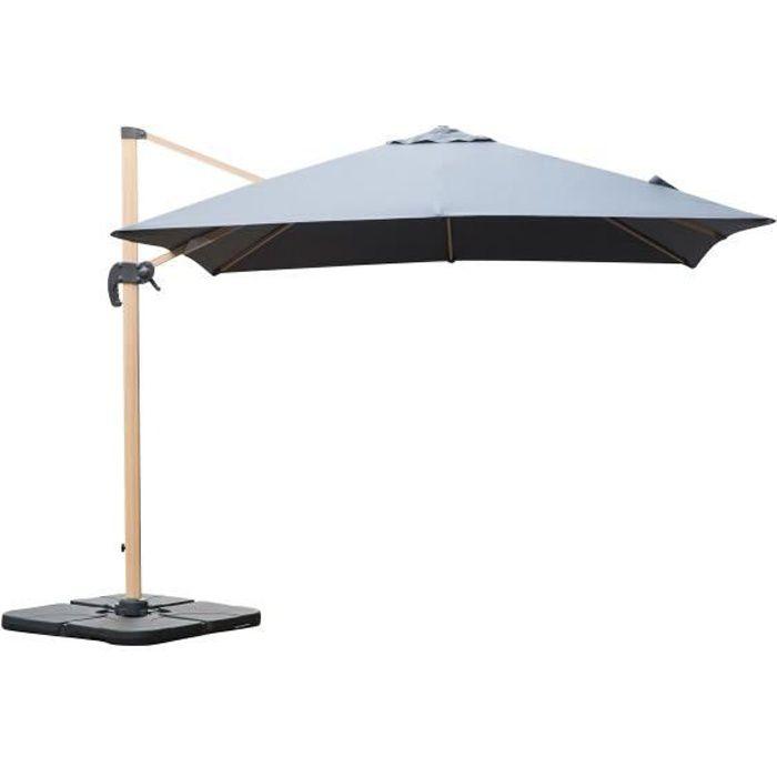 Parasol déporté rotatif, structure en aluminium, 3x3m modèle Brescia Gris
