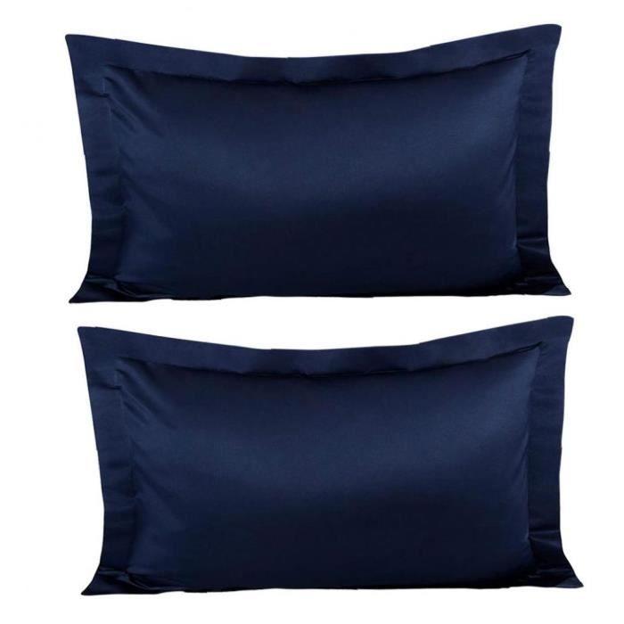 Satin Taie d'oreiller Silk sentiment anti-rides Couvre-oreillers Case de soin de la peau de cheveux 1Pair bleu marine bleu