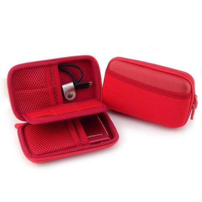 étui / case / boîtier / sac / housse de protection antichoc pour disque dur externe 2,5- Western Digital etc.-rouge