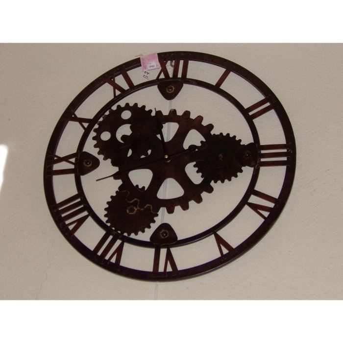 Pendule industrielle mecanisme apparent metal marron for Pendule murale industrielle