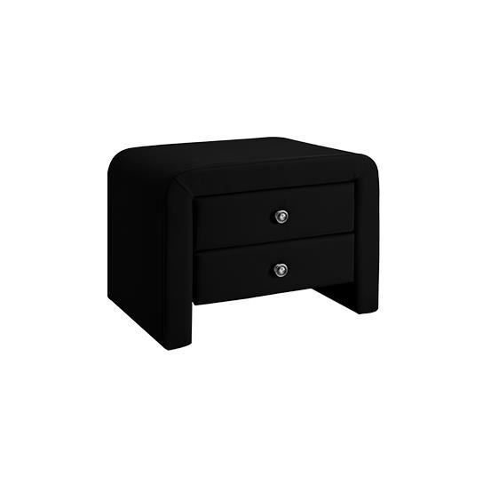 Lot de 2 chevets noir simili cuir achat vente chevet lot de 2 chevets noi - Table de chevet cuir noir ...