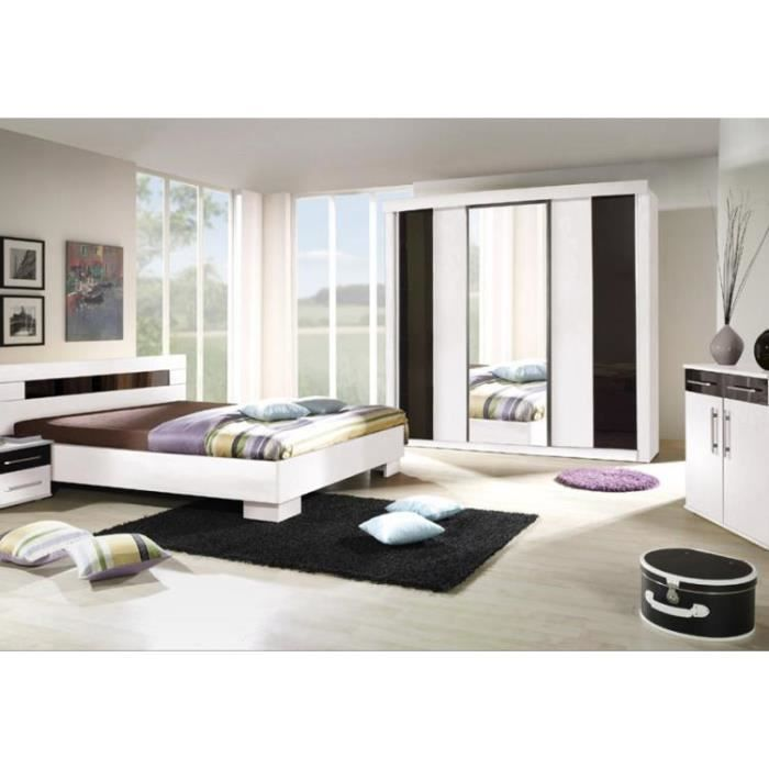 chambre coucher compl te dublin adulte design blanche lit 160x200 cm armoire commode 2. Black Bedroom Furniture Sets. Home Design Ideas