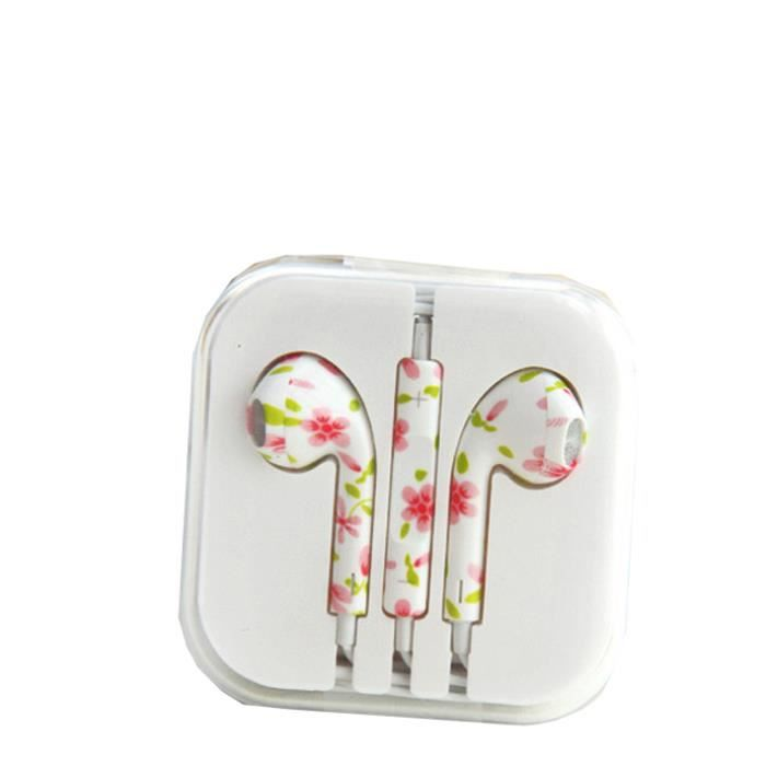 ecouteur pour iphone 5 earpods dessin fleur achat. Black Bedroom Furniture Sets. Home Design Ideas
