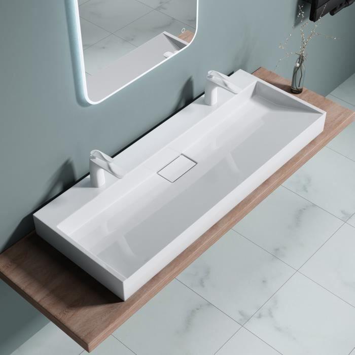 Lavabo double vasque à poser évier avec percage pour 2 robinets Colossum  19-2 1200 120x46x11cm