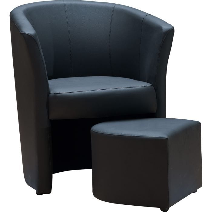 fauteuil cabriolet pouf ibiza noir achat vente. Black Bedroom Furniture Sets. Home Design Ideas