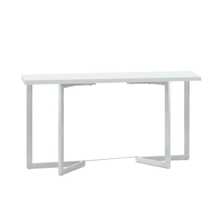 Table pliante adonis blanc achat vente table d 39 appoint for Table a carte pliante