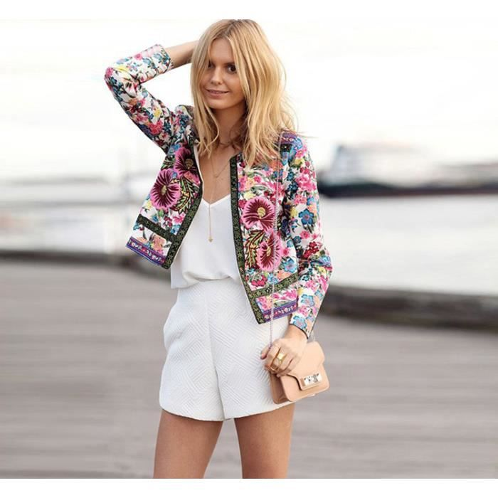 blouson veste femme bomber jacket moto imprim fleur zipper classique vintage r tro multicolor. Black Bedroom Furniture Sets. Home Design Ideas