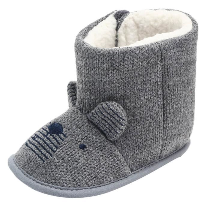 Gris D'hiver Neige Chaussures Bow Molle Gar Bb Bottes Anti 12 Sole slip Bbs ons Filles 7XPqgwgOTH