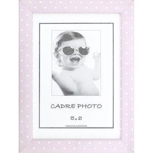 CADRE PHOTO KID Cadre photo à pois 15x21 cm rose et blanc