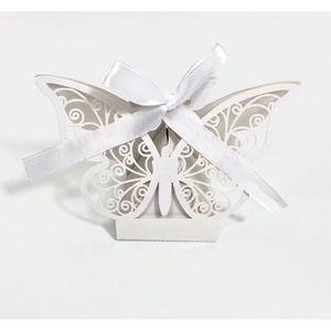 BOÎTE À DRAGÉES Contenant dragées papillon baptême, mariage Blanc