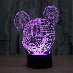 LAMPE A POSER Mignon Forme 3D Mickey Mouse LED 7 couleurs Night