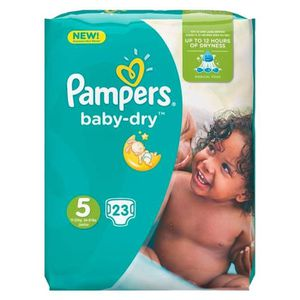 COUCHE Pampers Couches Baby-Dry Taille 5 (11-23Kg) x23 (l