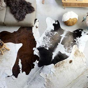TAPIS Tapis en peau de vache véritable Noir et blanc 150