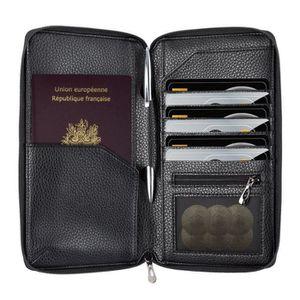 Cuir RFID passeport Documents Cartes Notes de voyage Organisateur Portefeuille Pochette