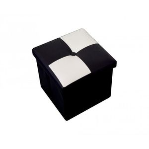 POUF - POIRE Pouf Coffre de Rangement Carre Synthétique Blanc N