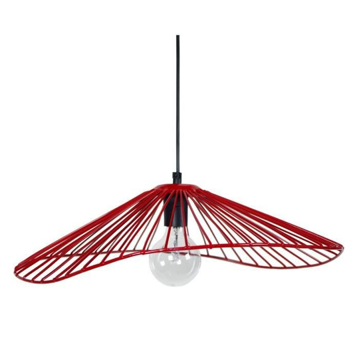 Lady lustre suspension filaire 50x44x13 cm rouge e27 40w for Suspension rouge cuisine