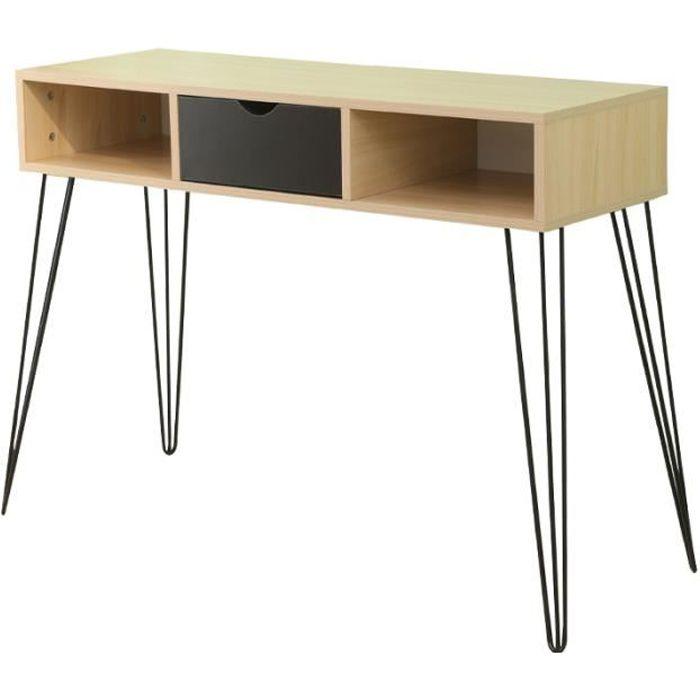 Meuble Console tiroir + 2 étagères - Design industriel - 4 pieds épingle forme trombone en métal - Coloris Bois