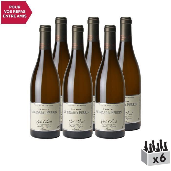 Viré-Clessé Vieilles Vignes Blanc 2018 - Lot de 6x75cl - Domaine Gondard Perrin - Vin AOC Blanc de Bourgogne - Cépage Chardonnay