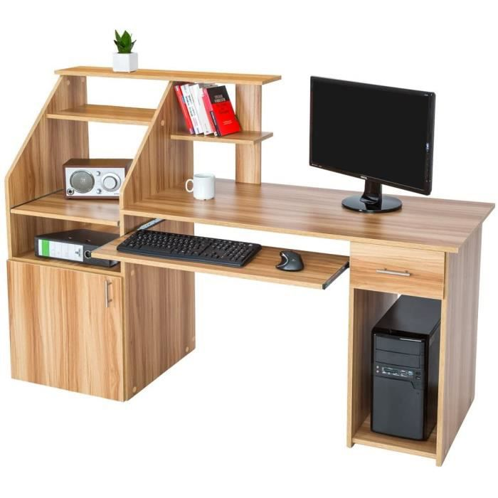 TecTake 800731 Bureau Design Informatique en Bois, pour Ordinateur, avec Rangement pour l'unité Centrale, Tablette pour Clavier - Pl