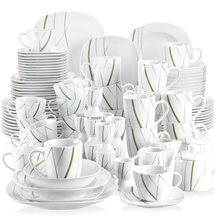 VEWEET, série Aviva, Service de Table, 100 pièces en Porcelaine pour 12 Personnes
