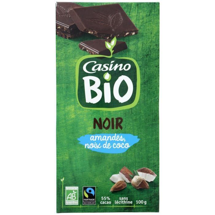 CASINO Chocolat noir Amand et Noix de Coco Bio - 100G