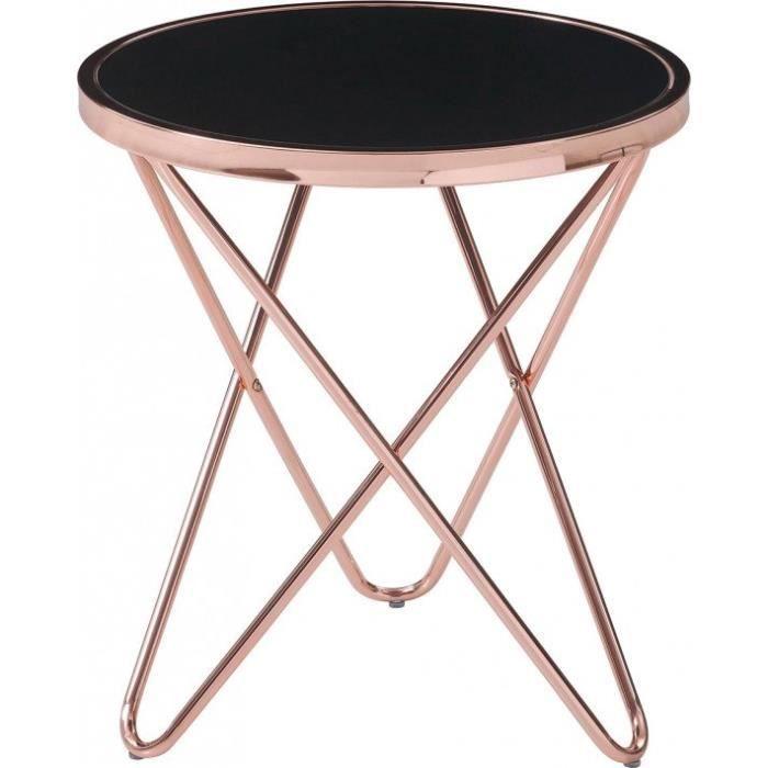 Table d'appoint plateau verre noir piétement métal 50 Noir