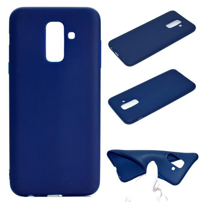 Coque en TPU douce et mate bleu foncé pour votre Samsung Galaxy A6 Plus (2018)