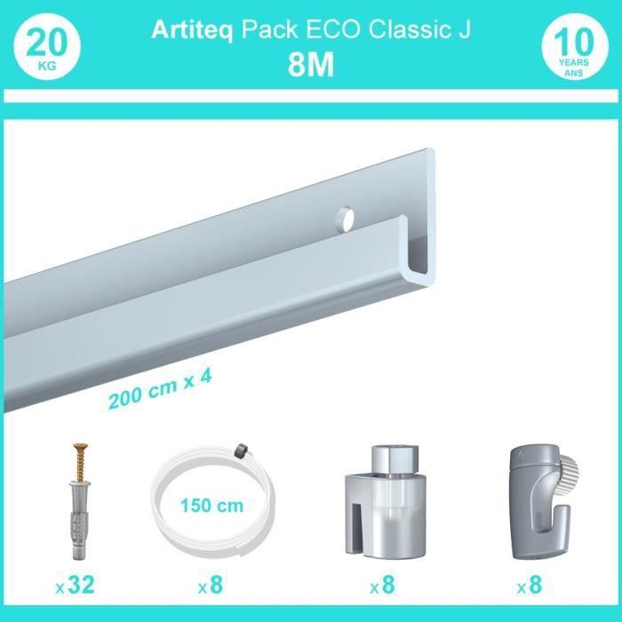 Pack complet 8 mètres cimaise Classic J couleur Aluminium - Suspension et déplacement facile de cadres et tableaux 8 câbles perlon