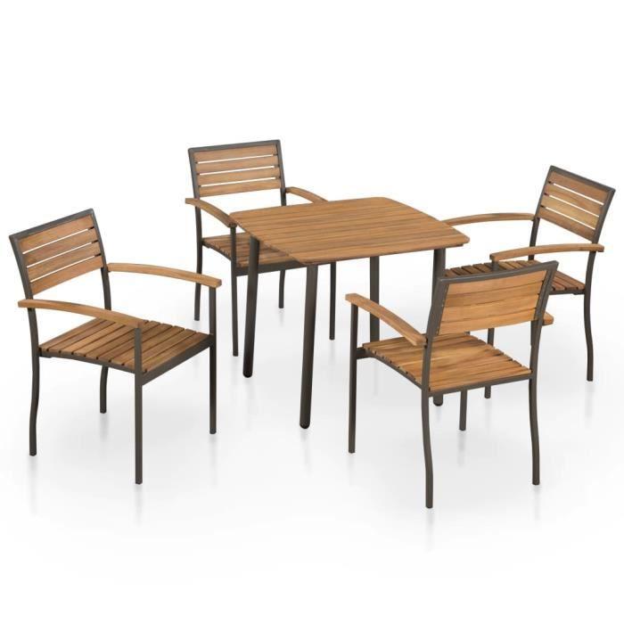 Magnifique Salon de jardin 5 pcs - Jeu de mobilier de jardin Contemporain - d'extérieur Bois d'acacia solide et acier ®GSETHP®