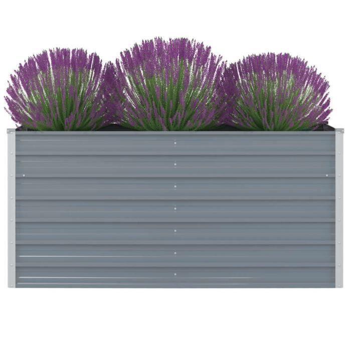 Jardinière - Bac A Fleur 160 x 80 x 77 cm Gris Acier galvanisé Haute qualité #57822