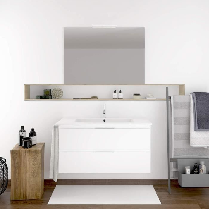 Meuble de salle de bain LOKI 100CM Blanc avec plan vasque et miroir. Avec porte serviettes en cadeau!!!
