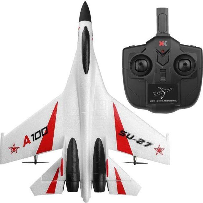 WLtoys XK A100 RC Avion 2.4Ghz 3CH RC Avion avec 6-Gyroscope, EPP Télécommande Avion, facile à Voler RC Avion pour Enfants blanc