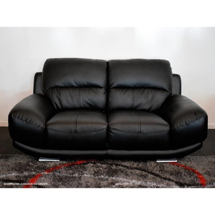Canapé 2 places en cuir noir BARCELONA
