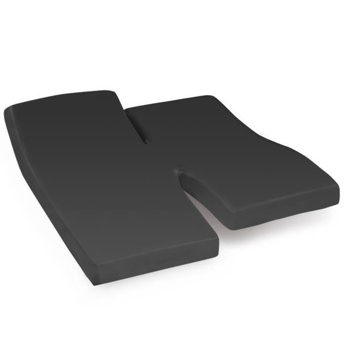 Drap housse relaxation uni 2x90x200 cm 100% coton ALTO Noir de lune TPR Tête et pied relevable 90x200