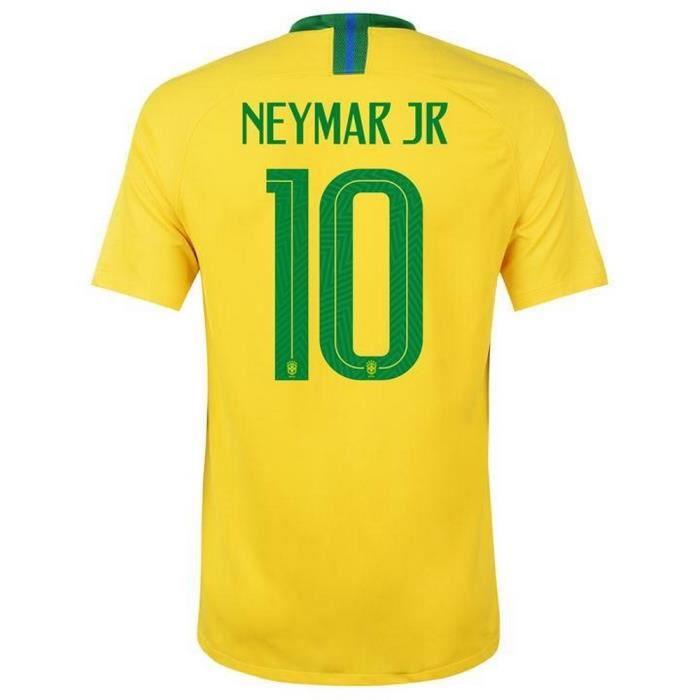 Maillot Homme Nike Brésil Home Coupe du Monde de Football 2018 Neymar Numéro 10