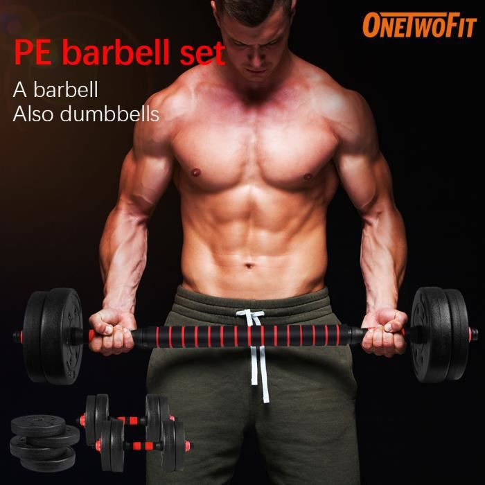 OneTwoFit Lot d'haltères 30kg musculation haltère réglable OT135